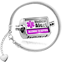 Charm Set Medical Alert Purple Allergic to Aspirin - Bead comes with Bracelet , Neonblond from NEONBLOND