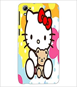 PrintDhaba Kitty D-5553 Back Case Cover for HTC DESIRE 826 (Multi-Coloured)