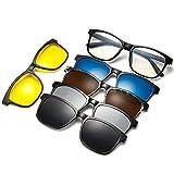 WELUK Magnetic 5Pcs Polarized Clip-on Sunglasses Plastic Eyeglasses Frame for Night Driving (Black, 55)