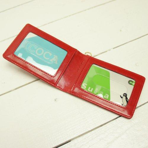 [イーモノ] e-mono 三面 二つ折り パスケース 定期入れ icカード 2枚 3枚 クリアポケット プルアップ仕上げ (キャメル) [ウェア&シューズ]