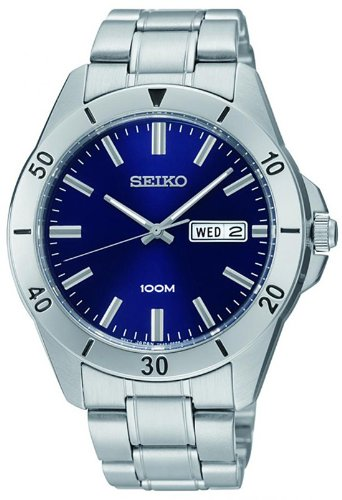 Seiko Blue Dial Stainless Steel Mens Watch SGGA77