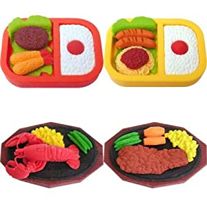 4 large bento box lunch dinner steak lobster erasers japanese iwako toys games. Black Bedroom Furniture Sets. Home Design Ideas