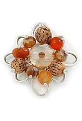Orange, Brown Glass, Resin Bead Floral Handmade Brooch In Silver Tone - 40mm L