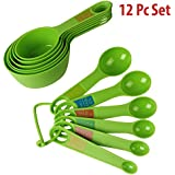 HOKIPO® Plastic Measuring Cups And Spoon Set With Ring Holder, 12 Piece Set, Green