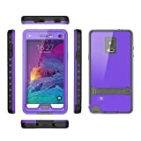 Samsung galaxy Note 4 IP-68 Untra Kick-stand Waterproof Case Cover ,Nika shop Swimming Diving New Full Body Crystal 6.6 Ft Underwater Attached Screen Protector Waterproof Water Resistant Heavy Duty Slim Case Cover for Samsung galaxy Note 4 Phone, Rugged Hard Armor Underwater Durable Full Body Sealed Protection Skin Pouch dirtproof dustproof Snowproof Sweatproof Shockproof Hard Armor Protective Heavy Duty Defender Built-in Screen Protector Rugged Cover Case for Samsung galaxy Note 4 +Free Screen Protect + Hand Strap - Retail Packaging (Nika shop-Purple)
