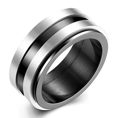 """NYKKOLA classica in acciaio INOX con anello di fidanzamento da uomo e da donna, misura: 7-10 """", 10 mm, acciaio inossidabile, 22, cod. XGTGR016-A-10"""