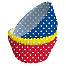 150 x rojo, amarillo y azul de lunares de envoltorios para cupcakes