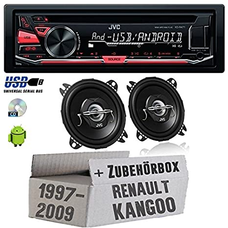 REANULT KANGOO 1-JVC Radio KD r471e & 10cm CS de haut-parleur j420-Kit de montage
