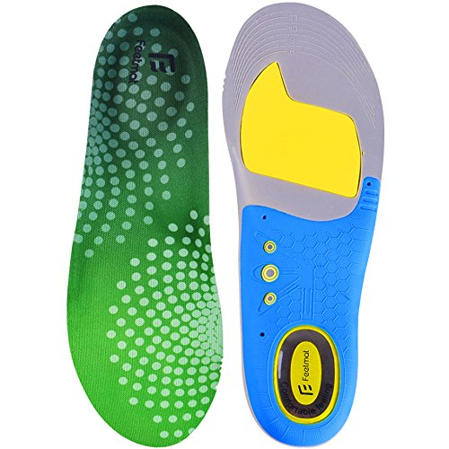 Feetmat Premium Shoe Insoles,Orthotics Soles for Flat Feet,Arch Comfort Sport Footbeds,Mens Sizes 8-12 (Flat Feet Insoles compare prices)