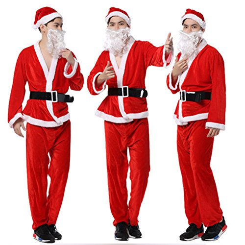 [Adult Men's Christmas Santa Claus Costume with Hat Beard Belt Pleuche Santa Suit] (Plus Size Simply Santa Costumes)