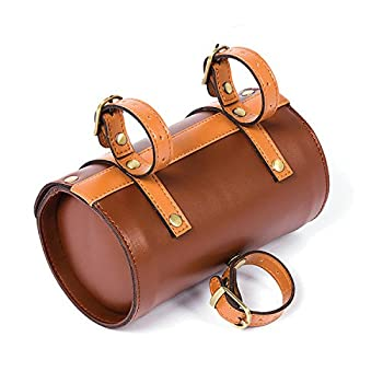 Comfortable Soft Vintage Bicycle Saddle Tail Handlebar Tools Bag, Cylindrical, Handmade