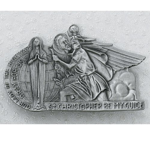carded-lead-free-pewter-visor-clips-for-automobile-vehicles-silver-st-christopher-with-st-mary-lady-