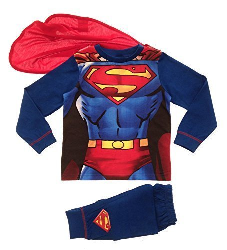 Bambini Ragazzi Costume Travestimento Play Costumi / Pigiami Pigiameria Di Pj Pjs Set Buzz Lightyear Superman Spiderman Addobbi Festa Pipistrelli Batman misura UK 1-8 Anni - cotone, Superman - Tuta con mantello, 100% cotone, Unisex bambini, 3-4 Years