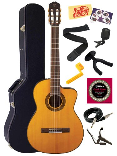 Takamine Gc5Ce Solid Spruce Top Cutaway Nylon String Classical Acoustic-Electric Guitar With Rosewood Fretboard Bundle With Hard Case, Strings, Capo, Strap, Instrument Cable, Wall Hanger, Tuner, Stringwinder, Picks, And Polishing Cloth - Natural