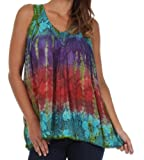 Sakkas 50831 Multi-Color Tie Dye Floral Sequin Sleeveless Blouse - Turquoise - One Size