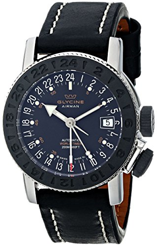 Glycine-Unisex-3928-191-LB9B-Airman-Stainless-Steel-Watch-with-Black-Leather-Band