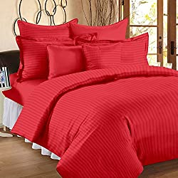 300 TC Duvet Cover - Double Size - Premium Cotton - Striped Duvet / Quilt / Comforter cover with zipper by Ahmedabad Cotton - 90 x 100 inches - Tomato Red