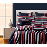 Swayam Magical Linea Stripes Cotton Double Bedsheet With 2 Pillow Covers - Denim Blue Stripes