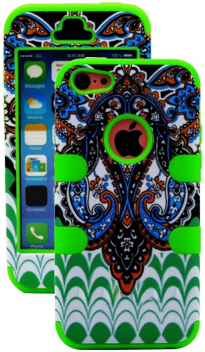Mylife (Tm) Bright Green + Colorful Abstract Paisleys 3 Layer (Hybrid Flex Gel) Grip Case For New Apple Iphone 5C Touch Phone (External 2 Piece Full Body Defender Armor Rubberized Shell + Internal Gel Fit Silicone Flex Protector + Lifetime Waranty + Seale