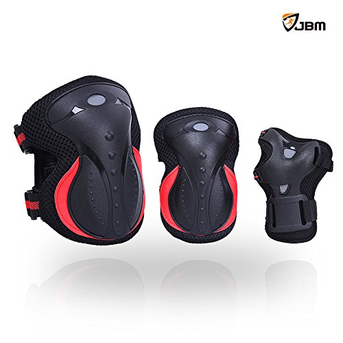 JBM Adult Inline Roller Skating Knee Pads Elbow Pads Wrist Guards for Skateboarding, Roller Skating, BMX Biking, Scooter, Electric Skateboard, Cycling [Impact Resistance] (Red and Black, Adult)