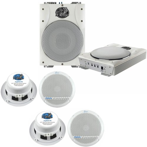 Lanzar Marine Amp Woofer And Speaker Package - Aqtb8 8'' 1000 Watts Low-Profile Super Slim Active Amplified Marine/Waterproof Subwoofer System - X2 Aq5Dcw 2 300 Watts 5.25'' Dual Cone Marine Speakers (White Color) (2 Pairs)