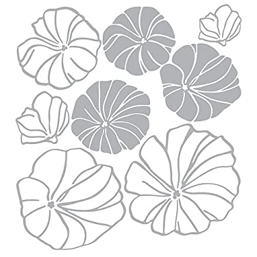Simple Gray & White Floral Pattern (Stencil Design) - Removable Home Decoration Wall Sticker Decal
