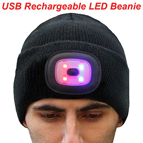 7a81ed4e EZGO Unisex Knitted LED Beanie Cap, Ultra Bright Elite Outdoor Lighted Headlamp  Hat with Removable