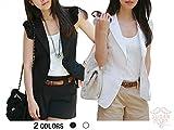 (シュガーポート) SUGAR PORT レディース ベスト ジレ 袖なし ジャケット ホワイト ブラック 2色 SL073 ランキングお取り寄せ