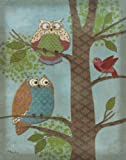 Fantasy Owls Vertical Ii Animal Trendy Classic Bird Owl Popular Classy Tree Decorative Picture 11X14