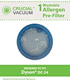 1 Dyson DC-24 Long Life Washable & Reusable Pre-Filter, Replaces Dyson DC24 DC-24 Part # 913788-01, 91378801, 913788; Designed and Engineered by Crucial Vacuum