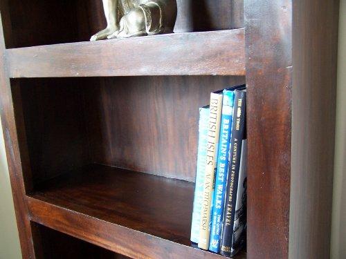 Homescapes - Dakota - Tall 90 cm Wide Bookcase 90 x 30 x 204 cm - Dark - 100% Solid Mango Hard Wood - ( No Veneer ) Hand Crafted Furniture