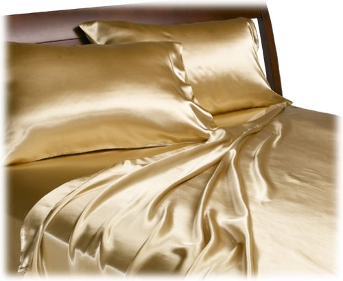 Lowest Price! Divatex Home Fashions Royal Opulence Satin Queen Sheet Set, Gold