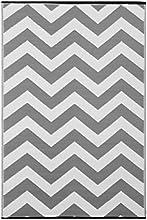 """Green decore 120 x 180 cm """"psychédélique"""" intérieur/extérieur/léger/ tapis ecologique réversible, gris / blanc"""