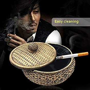 Tri-polar Home Decor Creative Eco-friendly Paint Large Cigarette Office Table Capacity Cigar Ashtray with Lid As Fantasy Gifts for Men Smokers,Rattan
