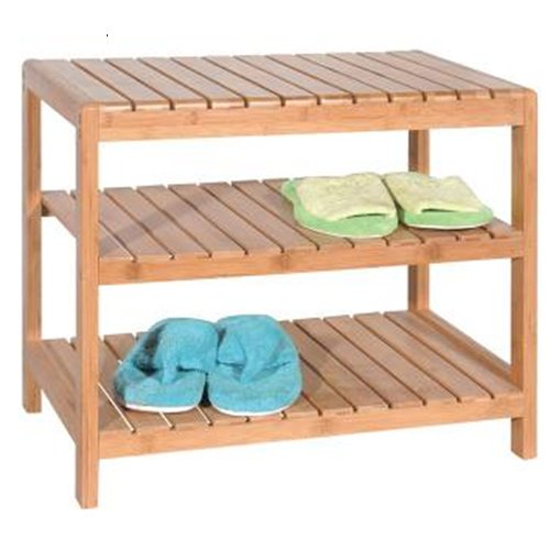 YORK - 3 Tier Bamboo Storage / 9 Pair Shoe Shelves - Natural