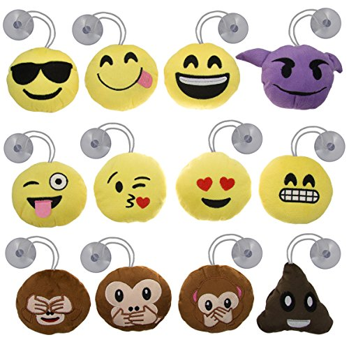 Bundle - 12pk Mini Emoji Hanging Plush Pillow Set Emoticons Cushion Toys Pack Smiley Poop Suction Cups