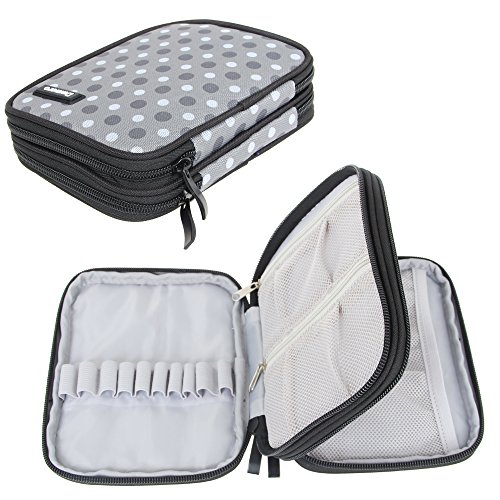 Damero Organizer Zipper Case for Crochet Hook and Accessories, Gray Dots (No Accessories Included) (Crochet Organizer Tote compare prices)