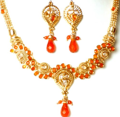 Orange Filigree Necklace and Earrings Set - Copper Alloy with Cut Glass