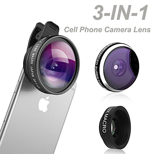 Phone-Camera-Lens-Comsun-3-in-1-Universal-Clip-on-Cell-Phone-Camera-Lens-Kit-235-Degree-Fisheye-04X-Wide-Angle-19X-Macro-for-iphone-for-ipad-for-Samsung-Galaxy-Tablet-Smartphone