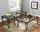 FurnitureMaxx Matrix 3 in 1 Accent Table Set w/ Black Metal Frame, Coffee & 2 End Table Sets