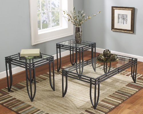 FurnitureMaxx Matrix 3 in 1 Accent Table Set w/ Black Metal Frame, Coffee & 2 End Table Sets (Accent Coffee Table compare prices)