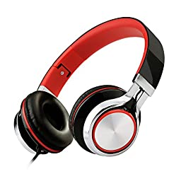 ECOOPRO® Lightweight Portable Adjustable Over Ear Stereo Earphone Headphones Headset for PC MP3 MP4 Tablet Most Smart Phone (Black/Red)