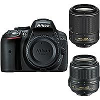 Nikon D5300 DX-Format 24.2MP Full HD 1080p Wi-Fi Digital SLR Camera with 18-55 & 55-200mm Lens (Black) - Refurbished