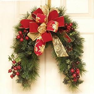 Designer Holiday Door Wreath or mailbox swag