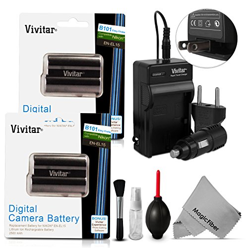 (2 Pack) En-El15 Battery And Charger Kit For Nikon Dslr D810, D750 D7100, D7000, D800E, D800, D610, D600, Nikon 1 V1 - Includes: 2 Vivitar Ultra High Capacity Rechargeable 2500Mah Li-Ion Batteries + Ac/Dc Vivitar Rapid Travel Charger + Cleaning Kit + Magi