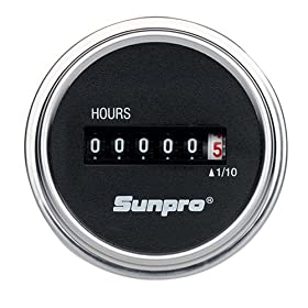 Sunpro CP7953 Analog Hour Meter - Black Face