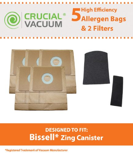 5 Bissell Zing Canister 7100 & 7100L Bags & 2 Filters (Pre & Post Motor Filters) ; Compare To Part # 3210; Designed & Engineered By Crucial Vacuum front-7601