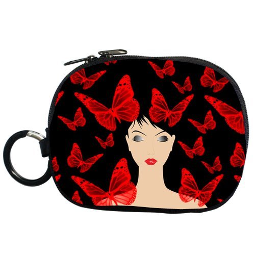 Red Butterfly And Girl Personalized Coin Purse (Two Side) front-18055