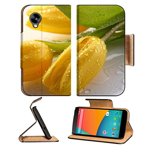Nature Flowers Tulips Water Drops Yellow Google Nexus 5 Hammerhead Lg Flip Case Stand Magnetic Cover Open Ports Customized Made To Order Support Ready Premium Deluxe Pu Leather 5 11/16 Inch (145Mm) X 2 15/16 Inch (75Mm) X 9/16 Inch (14Mm) Msd Nexus Cover