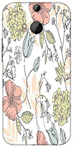 Snoogg Seamless Vintage Flower Pattern Designer Protective Back Case Cover For HTC M8